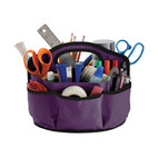 Find It Supply Caddy, Purple - This generous 28-compartment supply caddy will hold all of those loose art supplies. Made of durable canvas, it has a comfortable handle, and a partition folds out from the center to reveal inside compartments. It would be great for mom and dad's supplies too.
