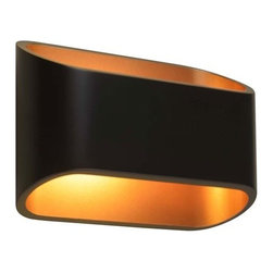 Bruck - Bruck | Eclipse I Wall Sconce - Made by Bruck Lighting.  The Eclipse I Wall Sconce is an LED wall sconce made from extruded aluminum. Its contemporary, organic design allows for a modern look while a warm classic glow illuminates the wall from either side of its elliptical body. Eclipse includes an integral driver and can be mounted both vertically and horizontally on a standard junction box.  Available in brushed chrome with white interior or in black with gold interior. Shown in black with gold interior. Dimmable model compatible with electronic low voltage dimmer (not included).