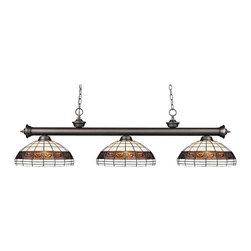 Z-Lite - Z-Lite Riviera Olde Bronze 3 Light Billiard Light X-1-41F-BO3-002 - Elegant and traditional best describes this beautiful three light fixture. Finished in old bronze and paired with tiffany glass shades, this three light fixture would be equally at home in the game room, or anywhere else in the house needing a touch of timeless charm. 72 inches of chain per side is included to ensure a perfect hanging height.