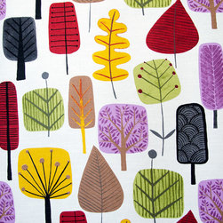 Retro Scandinavian wood fabric tree leaf purple orange - A retro Scandinavian wood tree leaf fabric. This Scandinavian tree leaf fabric has a bright and lively retro look... think Norwegian Wood!