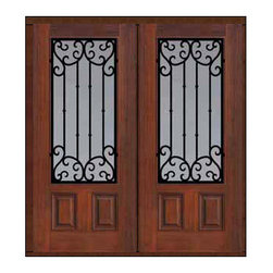"Prehung Double Door 80 Fiberglass Valencia 3/4 Lite Wrought Iron - SKU#    MCT08WV_WF34V2Brand    GlassCraftDoor Type    ExteriorManufacturer Collection    3/4 Lite Entry DoorsDoor Model    ValenciaDoor Material    FiberglassWoodgrain    Veneer    Price    3510Door Size Options    2(32"")[5'-4""]  $02(36"")[6'-0""]  $0Core Type    Door Style    Door Lite Style    3/4 LiteDoor Panel Style    2 PanelHome Style Matching    Door Construction    Prehanging Options    Prehung , ImpactPrehung Configuration    Double DoorDoor Thickness (Inches)    1.75Glass Thickness (Inches)    Glass Type    Double GlazedGlass Caming    Glass Features    Tempered glassGlass Style    Glass Texture    Clear , rain , FlutedGlass Obscurity    No Obscurity , Highest Obscurity , High ObscurityDoor Features    Door Approvals    TCEQ , Wind-load Rated , AMD , NFRC-IG , IRC , NFRC-Safety GlassDoor Finishes    Door Accessories    Weight (lbs)    603Crating Size    25"" (w)x 108"" (l)x 52"" (h)Lead Time    Slab Doors: 7 Business DaysPrehung:14 Business DaysPrefinished, PreHung:21 Business DaysWarranty    Five (5) years limited warranty for the Fiberglass FinishThree (3) years limited warranty for MasterGrain Door Panel"
