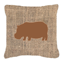 Caroline's Treasures - Hippopotamus Burlap and Brown Fabric Decorative Pillow Bb1130 - Indoor or Outdoor Pillow from heavyweight Canvas. Has the feel of Sunbrella Fabric. 18 inch x 18 inch 100% Polyester Fabric pillow Sham with pillow form. This pillow is made from our new canvas type fabric can be used Indoor or outdoor. Fade resistant, stain resistant and Machine washable..