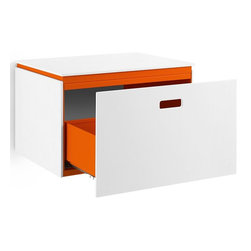 WS Bath Collections - Base Vanity Cabinet with One Drawer in White - Modern/contemporary design. Designer high end quality vanity/storage cabinet. Works with all vessel sinks/washbasins. Contains one drawer. Made from mattstone panelled and powder coated painted aluminum. Warranty: One year. Made in Italy. 19.7 in. W x 16.5 in. D x 13 in. H (55 lbs.). No assembly required. Spec SheetLinea; washbasins, washstands, and bathroom furniture, of various sizes and materials. Pureness of glass, polish of steel, and warmth of wood. Perfection of lines, art, and harmony.