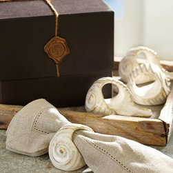 Ceramic Shell Napkin Ring Gift Set - Ceramic shell napkin rings from Pottery Barn bring a beach vibe to your summer table.