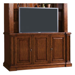 Lexington - Sligh Laredo Media Console - Featuring Infrared SmartEye for remote control of concealed electronic components, as well as a 5-outlet surge suppressor with warranty, cord management, and ventilation. Two adjustable shelves behind the left and right side doors. Center door with optional speaker cloth features an adjustable shelf and two Multi-Flex media drawers with adjustable dividers. Accommodates 251LR-633 Deck, as well as 9000-1-BL Sligh StrongArm and/or 9001-1-BL Sligh SmartFan. All sold separately.