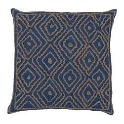 """Surya - Surya 20 x 20 Decorative Pillow, Mediterranean Blue and Olive Gray (LD025-2020P) - Surya LD025-2020P 20"""" x 20"""" Decorative Pillow, Mediterranean Blue and Olive Gray"""