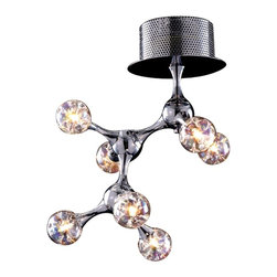 """Elk Lighting - Molecular Seven-Light Modern Semi-Flush Mount Ceiling Light Fixture - With a fantastic design resembling the structure of a molecule, The Seven-Light Molecular Semi-Mount Ceiling Fixture exhibits a group of """"atoms"""" made of iridescent blown glass. With a chrome plated finish, this ceiling light has a continuous network of tapered metal extensions that seamlessly connect each light in a sculpture-like fashion. This fixture accommodates Seven (7) 20 Watt Type G4 Halogen lamps, which are included. The light weighs five (5) pounds. Included with the fixture is an electronic transformer."""