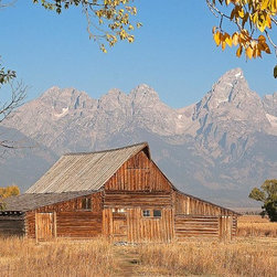 Magic Murals - Teton Range Barn Wallpaper Wall Mural - Self-Adhesive - Multiple Sizes - Magic M - Teton Range Barn Wall Mural