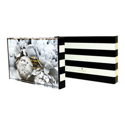Kate Spade - Kate Spade Black Stripe Picture Frame - Fancy up your desk with one of your favorite photos in this oh so cute acrylic frame with a black and white stripe back. Holds a 4 x 6 Photograph