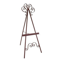 Grace - Marseilles Wrought Iron Picture Display Easel - GMC-EASEL-1 BR - Shop for Art Easels from Hayneedle.com! Give your salon (or living room) a splash of color by displaying your favorite painting on the Marseilles Wrought Iron Picture Display Easel. This sturdy wrought iron easel features decorative Marseille-style accents between the front legs and at the apex. It's the perfect way to showcase that heirloom Matisse. Don't have an Old Master painting? You can use it to display priceless family portraits or enlarged snapshots of the kids. Available in your choice of four distinctive finishes.About Grace Manufacturing Company Grace Mfg. Co. manufactures metal and wrought iron furniture from their headquarters in Rome Georgia. For over 25 years their artisans have created durable metal and wrought iron bar stools racks beds dining chairs dinettes sets and tables. Their heirloom-quality wrought iron furniture is hand crafted by skilled metal smiths at their Rome Georgia plant. Made in the United States of America.