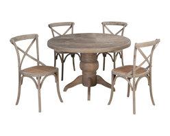Jofran - Jofran Burnt Grey 5-Piece Round Pedestal Dining Room Set in Solid Oak - Belongs to Burnt grey collection by Jofran. Solid oak.