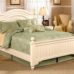 Signature Design by Ashley - Poster Bed w Carved Leaf Motif & Cream Finish - Choose Size: FullPoster Bed includes Headboard, Footboard, and Rails. Color/Finish: Cream. Bun feet on cases and beds. Graphic leaf design pattern on horizontal rails. Arched top drawers. Bead board panels on headboards and footboards. Bedroom group has the versatility of being adult or youth. B100-03, B100-04 can be used in substitution of a box spring on the twin or full poster beds. Full/Queen Headboard: 64 in. W x 4 in. D x 56 in. H. Full/Queen Footboard: 65 in. W x 4 in. D x 31 in. H. Full Rail: 55 in. W x 77 in. D x 18 in. H. Queen Rail: 62 in. W x 82 in. D x 18 in. H