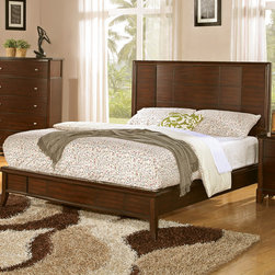 "Wildon Home � - Audrey Platform Bed - This platform like bed will be the centerpiece in your master suite or bedroom. It Features a geometric high paneled headboard finished in dark cherry. Sleek side rails, tapered feet and a low profiled look draws attention to the polished, causal style. Complementary storage options include a night stand, chest of drawers, dresser, mirror and other pieces for a complete bedroom ensemble. Features: -Box spring or foundation not required.-Finish: Dark cherry.-Audrey collection.-Distressed: No.-Collection: Audrey.Dimensions: -Queen Dimensions: 52"" H x 82"" W x 65.75"" D.-King Dimensions: 52"" H x 82"" W x 81.75"" D.-California King Dimensions: 52"" H x 86"" W x 77.5"" D.-Overall Product Weight: 98.56 lbs."