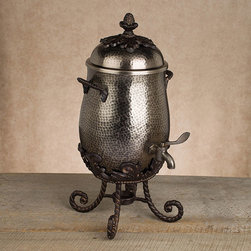 Gracious Goods GG - GG Collection Antique Silver Coffee Carafe - Creating a reputation on quality, beauty and innovation, the GG Collection has quickly become one of the most revered and trusted names in serveware.  Our magnificent Antique Silver Italian inspired coffee carafe can hold a gallon of coffee and a roomful of attention. Its vintage design features classic scrolling and leaf motifs in the antique silver finish, with comfortable side handles and an easy pour spout. Whether displaying this classic and versatile Coffee Carafe as your table centerpiece, or serving some steaming hot coffee or tea, this serving piece surely give you its best in elegance. The antique silver collection is a new Gracious Goods line with a contemporary twist!   * Capacity: 1 gallon  * Stand included