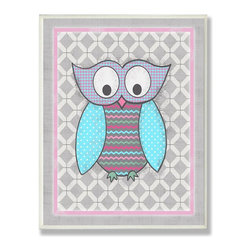 Stupell Industries - Bright Pink and Gray Owl - Made in USA. Ready for Hanging. Hand Finished and Original Artwork. No Assembly Required. 15 in L x 0.5 in W x 10 in H (3 lbs.)The Kid's Room by Stupell is offering great new wall plaques for the lil' one's.  All plaques are mounted on half inch thick MDF wood and are made in USA!  Featuring original artwork, each plaque comes hand finished with hand painted edges and a sawtooth hanger on the back for instant use.