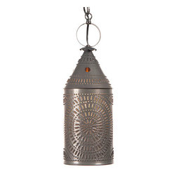 """Irvin's Tinware - 15"""" Electrified Hanging Lantern in Blackened Tin - Wired with one standard socket, 60 watts max. 7 feet of wire, 3 feet of chain and a matching ceiling plate included. Handcrafted in Pennsylvania. This light is UL listed and has a 5 year guarantee. ."""