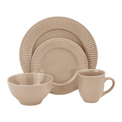 "Lorren Home Trends - Lorren Home Trends Embossed 16 Piece Dinnerware Set, Taupe - 16 Piece Stoneware dinnerware set from Lorren Home Trends features a nuetral embossed finish to coordinate with any style or design.  Dishwasher and microwave safe dinnerware set, great for everyday use.  Each set includes (4) 11"" dinner plates, (4) 8"" salad plate, (4) 6"" bowls, and (4) 4"" tall mugs with a 12 ounce capacity."