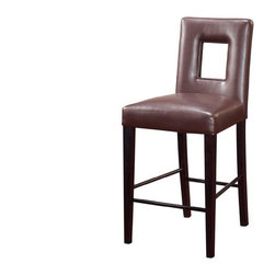 Global Furniture USA - Chocolate Upholstered Bar Stool with Cut-out Design - Global Furnit... - This gorgeous Chocolate Upholstered Bar Stool by combines practicality and elegance. It provides comfortable seating for you and your guests and will greatly enhance every party. This bar stool features appealing contemporary design and sleek stylish lines.