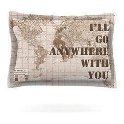 """Kess InHouse - Catherine Holcombe """"I'll Go Anywhere With You"""" Brown Map Pillow Sham (Cotton, 40 - Pairing your already chic duvet cover with playful pillow shams is the perfect way to tie your bedroom together. There are endless possibilities to feed your artistic palette with these imaginative pillow shams. It will looks so elegant you won't want ruin the masterpiece you have created when you go to bed. Not only are these pillow shams nice to look at they are also made from a high quality cotton blend. They are so soft that they will elevate your sleep up to level that is beyond Cloud 9. We always print our goods with the highest quality printing process in order to maintain the integrity of the art that you are adeptly displaying. This means that you won't have to worry about your art fading or your sham loosing it's freshness."""