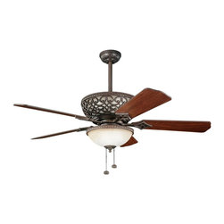 "DECORATIVE FANS - DECORATIVE FANS Cortez 52"" Transitional Ceiling Fan X-ZT311003 - Elegant scrollwork and beaded trim give this Kichler Lighting ceiling fan plenty of visual interest. From the Cortez Collection, it features a warm Tannery Bronze finish with a sunrise marble glass shade."