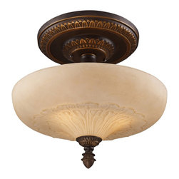 """Elk - Traditional Restoration Collection 15"""" Wide Golden Bronze Ceiling Light - The Restoration Collection was developed with a discriminating concern for preserving historic lighting and architectural designs. This semi-flushmount ceiling light features a golden bronze finish and amber glass for a handsome look. From Elk Lighting. Amber glass. Antique golden bronze finish. Three maximum 75 watt or equivalent bulbs (not included). UL listed for damp locations. 15"""" wide. 15"""" high. Canopy is 7"""" wide 1"""" high.   Amber glass.  Antique golden bronze finish.  Three maximum 75 watt or equivalent bulbs (not included).  UL listed for damp locations.  15"""" wide.  15"""" high.  Canopy is 7"""" wide 1"""" high."""