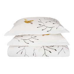 Swallow 3-Piece King/Cal - King Duvet Cover Set - Give yourself the sleep and the style you deserve with the Swallow 3 Piece Duvet Cover Set. Featuring an embroidered bird design this set will be sure to please.