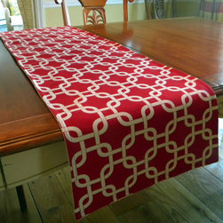 Table Runner Contemporary Red and White Lattice by Decorate 23 - Give your table some romantic flair with this red and white lattice-print table runner. I like how this runner is so multi-dimensional. It can even look great for spring, summer or Christmas.