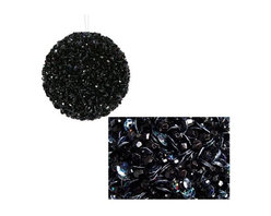 Lavish, Black, Fully Sequined & Beaded Christmas Ball Ornament - A couple of years ago it was really hard to find black ornaments, but now they are easier to find. I would only add two dozen at the most, and use the most sparkly ones you can find. These are perfect.