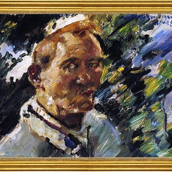 """Lovis Corinth-18""""x24"""" Framed Canvas - 18"""" x 24"""" Lovis Corinth Small Self Portrait at the Walchensee framed premium canvas print reproduced to meet museum quality standards. Our museum quality canvas prints are produced using high-precision print technology for a more accurate reproduction printed on high quality canvas with fade-resistant, archival inks. Our progressive business model allows us to offer works of art to you at the best wholesale pricing, significantly less than art gallery prices, affordable to all. This artwork is hand stretched onto wooden stretcher bars, then mounted into our 3"""" wide gold finish frame with black panel by one of our expert framers. Our framed canvas print comes with hardware, ready to hang on your wall.  We present a comprehensive collection of exceptional canvas art reproductions by Lovis Corinth."""