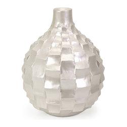iMax - Helena Small Pearl Vase - Small textured pearl finish vase.