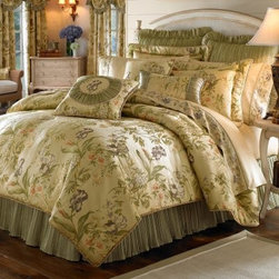 "Croscill Iris Comforter Set - The Asian-inspired look of the Croscill Iris Comforter Set adds a silky elegance to your well-appointed bedroom. The satin feeling of the ivory background features delicate clusters of colorful iris flowers. Chic and understated, the matching bedskirt and shams complete the look. Dry clean only. Choose from available sizes.Comforter Dimensions:Queen: 92L x 96W in.King: 96L x 110W in.Calif. king: 96L x 110W in.About CroscillCroscill was started in 1946. This company began with a revolutionary twist on the standard window curtain. Based in Brooklyn, New York, this company was named ""Croscilla"" for the way in which their curtain went across the entire window sill. From the very beginning, Croscill set the highest standards for designs that beautify the home and enrich daily lives. Their design team includes industry leaders who are dedicated to providing a wide array of elegant choices. From timeless classics to the latest trends, you'll find the look you want at Croscill."