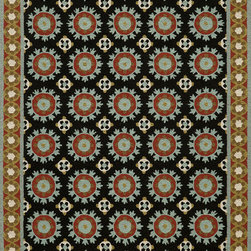 Momeni - Momeni Suzani Hook SZI-3 (Black) 5' x 8' Rug - Gorgeous Uzbekistan Suzani textiles are executed with a fresh and cheerful update, modernized in today's fashion-forward color palette. The Suzani collection is inspired by decorative tribal embroidery that dates back to the 18th century . Made in China in a hand-hooked quality, using the finest wool.