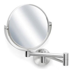 """Blomus - PRIMO Wall-mounted Cosmetic Mirror - Reflecting elegance takes attention to detail. The designers at Blomus pay attention to these details, and the PRIMO Wall-mounted Cosmetic Mirror is no exception. This two-sided mirror gives you the option of 5x magnification or a regular mirror, and its swivel function allows you to view at various angles. For further flexibility, the fold-out arm extends up to 14"""". This mirror does more than look pretty - it adjusts to your needs."""