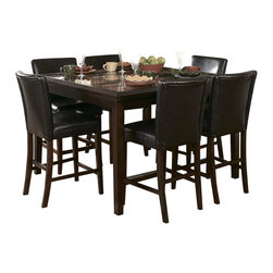 Homelegance - Homelegance Belvedere 5 Piece Counter Height Dining Room Set - The beveled wood edge of these burnished espresso finished tables softens the transitional Belvedere collection. Inset display shelving and decorative faux marble inlay further compliment the design.