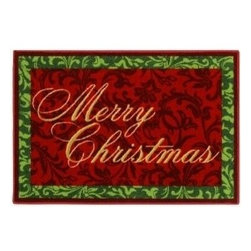 "Dean Flooring Company - Merry Christmas Decorative Holiday Rug/Mat - Merry Christmas Decorative Holiday Rug/Mat 2'7"" x 3'10"" : ""Merry Christmas"" Decorative Holiday Rug/Mat, Size: 2'7"" x 3'10"". Material: 100% Nylon. Made in the USA!"
