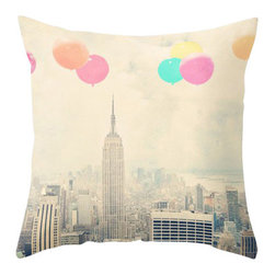 Maybe Sparrows Place - Balloons Over the City Pillowcase - Imagine flying high over the Empire State Building with the whole of Manhattan spread out before you. This New York City fantasy can play out in your mind every time you see Maybe Sparrow's pretty pillow cover sitting on your sofa.