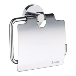 Smedbo - Home Euro Toilet Roll Holder w Lid in Polished Chrome Finish - Concealed fastening. 4.5 in. W x 4.38 in. H