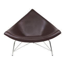 "IFN Modern - Coconut Chair Reproduction-Chocolate - 100% Italian Leather - The design of the Coconut Chair was created by  George Nelson and his inspiration for this chair comes from a coconut shell itself. George Nelson is considered to be one of the founders of mid century modern design- he was known for designing furnishings which contained elements of the natural world. This chair features the form of a cut-off section from a coconut and it designed with the intention of both aesthetic strikingness as well as comfort. This chair is analogous with the Minimalist movement that existed in the 1950's and it was first designed in the year 1955. This chair is beyond a piece of conversation- it is perfect for relaxation- whether one is looking to relax at a home, office, or a lounge setting.  Overall Dimensions: 38.6"" H x 43.3"" W x 31.1"" Dâ— Available in 100% Full Grain Italian Leather & 100% Full Grain Aniline Leather â— Variety of colors availableâ— Sturdy fiberglass shellâ— Thick padded leather cushioningâ— Stainless steel legsâ— Stainless steel ensures durability, resistant to corrosion and is easy to cleanâ— 5 Year warranty"