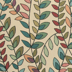 Teal, Green, Orange and Purple, Vines and Leaves Contemporary Upholstery Fabric - This contemporary upholstery jacquard fabric is great for all indoor uses. This material is uniquely designed and durable. If you want your furniture to be vibrant, this is the perfect fabric!