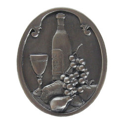 """Inviting Home - Best Cellar (antique pewter) - Hand-cast Best Cellar Knob in antique pewter finish; 1-1/4""""W x 1-1/2""""H; Product Specification: Made in the USA. Fine-art foundry hand-pours and hand finished hardware knobs and pulls using Old World methods. Lifetime guaranteed against flaws in craftsmanship. Exceptional clarity of details and depth of relief. All knobs and pulls are hand cast from solid fine pewter or solid bronze. The term antique refers to special methods of treating metal so there is contrast between relief and recessed areas. Knobs and Pulls are lacquered to protect the finish. Alternate finished are available."""