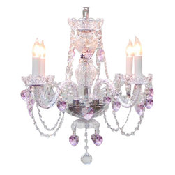 "The Gallery - Crystal Chandelier with Pink Crystal Hearts 17"" - Dare to wear your heart on your sleeve — and your ceiling. Dripping with blush-pink emblems of amour, this incredible crystal chandelier brings romantic drama to your favorite formal setting."