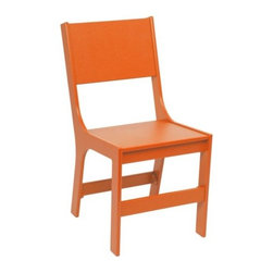 "Loll Designs - Cricket Chair by Loll Designs - The Loll Designs Cricket Chair is designed for comfort and conversation. It is made out of 5/8 inch thick 100% recycled HDPE, a durable and maintenance free material that comes primarily from recycled milk jugs. Available in a variety of colors and with a solid back or with decorative Line or spotty Spiracle cutouts. Loll Designs creates ""outdoor furniture for the modern lollygagger."" Founded in 2003, Loll specializes in the use of recycled materials (primarily plastic milk jugs) to create their long-lasting, low-maintenance and, of course, super-stylish outdoor chairs, tables, benches and other outdoor furnishings. All Loll products are designed and made in Duluth, Minnesota."