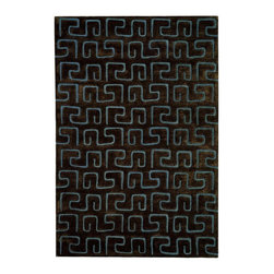 Safavieh - Greek Key Rug in Brown & Light Blue (5 ft. x 8 ft.) - Size: 5 ft. x 8 ft.. Hand Tufted. Wool and Viscose. Made in IndiaThe Soho Collection is Safavieh's response to market demand for clean, transitional design in rugs that work equally well in traditional and contemporary homes. The collection's unique purity and clarity of the color is achieved by selecting only the purest premium New Zealand wool as a canvas for Safavieh's exciting new color palette. Many of the designs in the Soho collection are accented with viscose for silky softness to outline patterns, and further highlight the softness of the wool. This innovative collection is hand-tufted in India.