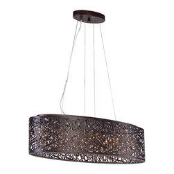 ET2 Lighting - ET2 Lighting E21310-10BZ Inca Bronze Linear Pendant - 9 Bulbs, Bulb Type: 40 Watt G9 Xenon, Bulbs Included