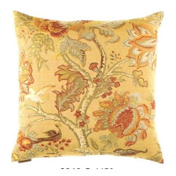 "Canaan - 24"" x 24"" Tree of Life Gold Floral Pattern Throw Pillow - Tree of life gold floral pattern throw pillow with a feather/down insert and zippered removable cover. These pillows feature a zippered removable 24"" x 24"" cover with a feather/down insert. Measures 24"" x 24"". These are custom made in the U.S.A and take 4-6 weeks lead time for production."