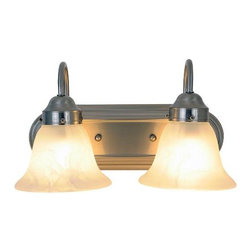 AF LIGHTING - Lunar Bay Lighting Collection, 2-Light Vanity Fixture, Brushed Nickel - Brighten the decor of your bathroom with this fashionably functional two-light vanity fixture. With a brushed nickel finish, alabaster glass globes, and a decorative backplate, this vanity fixture will become the focal point of your bathroom. Versatile enough to use in any room.