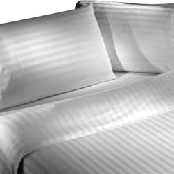 Bed In A Bag - LUXOR-1500TC Egyptian Cotton Duvet Cover Set-White Striped - LUXOR-1500TC Egyptian Cotton Duvet Cover Set-White Striped. 100% Egyptian Cotton, 1500 Thread count.