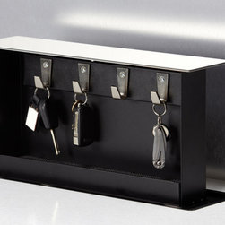 S-Box - S-Box Key Box - Install this handy key organizer in a countertop convenient to your main entry door.  Your keys will be readily available when you need them, and out of sight when you don't .  A touch of your finger to its stainless steel lid raises it automatically from its back-of-cabinet space.