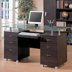 Coaster - Cappuccino Casual Desk - Clean lines and functionality describe this home office group. The glass-top desk features a keyboard tray, two locking drawers, four box drawers and two file drawers. Matching bookcase features sliding doors with shelving. Cube bookcase comes as one complete unit as shown. Matching credenza offers two file drawers.