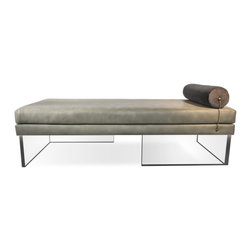 """Recovered Interior Collection - The Levitating Daybed is a unique and functional stylistic statement.  A twist of sophistication comes from the antiqued chain connecting the bolster pillow to the base of the daybed. In deliberate contrast, the crystal-like acrylic base gives a sense of visual lightness. The fabric options include recycled leather and Italian velvet combinations offered in Gray, Green and Black. DIMENSIONS: 70"""" x 32"""" x 19"""" H bolster headrest 6-1/2"""" in diameter - See more at: http://recoveredinterior.com/shop/levitating-daybed.html#sthash.ccStZI8L.dpuf"""